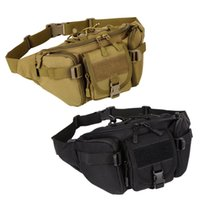 bolsas de cintura marrones al por mayor-Brown Fanny Pack Mens Tactical Waist Bag Pack Camo Impermeable Riñonera Bolsa Bolsa para senderismo Escalada Al aire libre