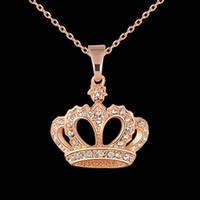 coroa de meninas bonitas venda por atacado-Mulheres bonitas Colar Liga Corrente Gargantilha Cristais Coroa Pingente Colares Presente Da Jóia Da Menina
