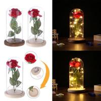 güller lambaları toptan satış-Bir Cam Taban üzerinde kırmızı Gül Ahşap Taban Güller Dekoratif Cam Kubbe Lambası Kurutulmuş Çiçekler Hediye Ev Dekor