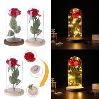 розовый стеклянный купол оптовых-Red Rose in a Glass Dome on a Wooden Base Roses Decorative Glass Dome Lamp Dried Flowers Gift Home Decor