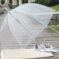 Wholesale ladies long handles umbrellas for sale - Group buy Large Clear Dome See Through Umbrella Handle Transparent Walking Lady Windproof Rain Protecting Umbrella