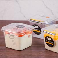 cajas de tapa transparente al por mayor-Claro Pastel Mousse caja cuadrada de plástico cajas de la magdalena transparente con tapa yogur Wedding Party Supplies Pudín EEA704