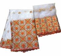 indische stoffe großhandel-Guinea brocade stoff weiße spitze für frauen hohe qualität indien bazin riche spitze getzner mit steinen ankara stoff 5 + 2 yards / lot