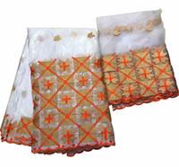 brocado blanco al por mayor-Guinea brocado tela blanca de encaje para mujer de alta calidad india bazin riche encaje getzner con piedras ankara tela 5 + 2 yardas / lote