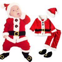 Wholesale summer santa claus costume resale online - Christmas Costume Baby Clothes Sets Baby Santa Claus Long Sleeve Clothes Hat Socking Suits Toddler Baby Clothes Warm