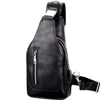 kore erkekleri için omuz çantaları toptan satış-Yeni erkek çantası göğüs çantası deri versiyonu deri çapraz sırt çantası tek omuz çantası