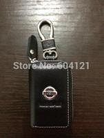 cubierta para las llaves del coche nissan al por mayor-Al por mayor-BrandNew Nissan Car Funda de cuero genuino Funda para llave de coche Funda Bolsa + Llavero de aleación Nissan Envío gratis