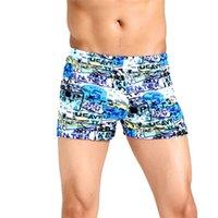 мужские плавательные трусы оптовых- Beach Shorts Men Swimming Trunks Quick Dry Swimwear Sexy men's Sports Briefs Male Swimsuit Boxer Water short A20