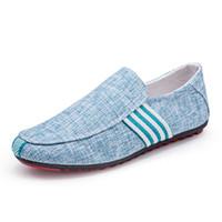холст обувь бизнес случайный оптовых-Мужские холстовые мокасины ручной работы Роскошные мужские деловые туфли Мужские повседневные туфли для вождения Soft Slip On Moccasins Flats