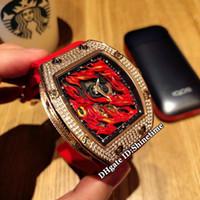 rosa roja única al por mayor-Nuevo diseño creativo único RM26-02 Evil Eye Red Dial Japón Miyota automático RM 26-02 Reloj para hombre Caja de oro rosa con diamantes Relojes para hombres