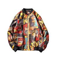 ingrosso marche di abbigliamento giapponese-Marca Stile giapponese Hip Hop Stampa Bomber Jacket Abbigliamento uomo Autunno Inverno Streetwear Giacca da uomo Cappotto Giacca a vento Top M-5XL