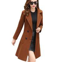 zarif palto avrupa toptan satış-Uzun Kollu Kış Yün Coat Kadınlar Avrupa Stil Karışımları Büyük Beden Casaco Feminino Bayanlar Sonbahar Yeni İnce Yün Şık Ceket