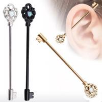ingrosso tunnel orecchini dimensioni -Design chiave di moda Bilanciere orecchio Impalcatura Bar Bilanciere Piercing Cartilagine Orecchino Gioielli per il corpo Piercing industriale