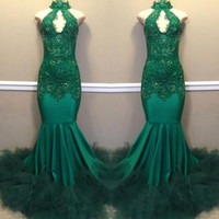 green prom dresses toptan satış-2019 Hunter Yeşil Gelinlik Modelleri Mermaid Keyhole Boyun Aplikler Sequins Yüksek Boyun Uzun Abiye giyim Custom Made