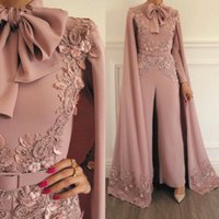 Wholesale dresses for women coral pink for sale - Group buy Woman Jumpsuit Vintage Capped Lace Applique Beaded For Evening Party Long Sleeves Floor Length Formal Muslim Dresses Gowns