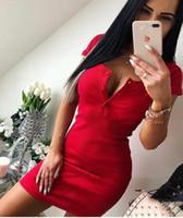 vestido corto de punto mujer al por mayor-Vestido de verano Otoño de las mujeres Sexy Casual Knit Sheath Mini vestidos para mujer Sólido cuello en V Botón del pecho Vestido de manga corta Bodycon