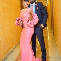 ingrosso maniche di soffio rosa-Abiti da cerimonia rosa Abiti da sera Maniche lunghe a sbuffo Abito da ballo a sirena senza collana Abito da cocktail Abiti economici