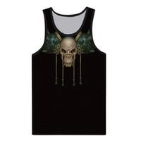 gilet de compression noir hommes achat en gros de-T-shirt à encolure dégagée O Black en 3D pour hommes Skull Skull Printed Muscle Vest Top Blouse canotta bodybuilding # 30