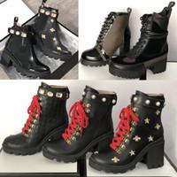 zapatos a cuadros al por mayor-2019 diseño Botines abeja Plataforma Desert Boots Señora de cuero de tacón alto zapatos de Martin Tweed Imprimir Consultar con el cinturón de buena calidad 25 colores