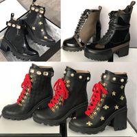 tasarımcı yüksek topuklu ayakkabılar toptan satış-Kayış İyi kalitede 25 renk ile 2019 Tasarımcı Arı Platformu Çöl Botları Lady deri Yarım bot Yüksek Topuk Martin ayakkabılar Baskı Kontrol tüvit