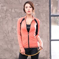 Wholesale clothing yoga tops for sale - Group buy New women sports fitness clothes yoga clothes moisture wicking quick drying sports zipper jacket long sleeves top