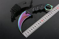 Wholesale best knives for hunting online - Karambit Claw Outdoor Fixed Knife Survival Gear CR15MOV HRC Steel Blade ABS Handle Hunting Knives W Sheath Best Gift For Men P183F Q