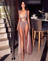 Wholesale cross night light resale online - 2019 sexy bot high split Prom Dresses sequined deep low neck evening formal gowns custom made cheap special occasion night club gowns