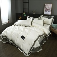 Wholesale white satin bedding sets resale online - Lace Imitation Silk Bedding Set Solid Smooth Duvet Cover Bed Sheet Linen Pillowcases White Wedding Home Textile Queen