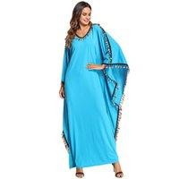 vestido muçulmano casual venda por atacado-Casual muçulmano abaya borla maxi dress manga morcego plus size quimono longo robe vestidos ramadã árabe do oriente médio vestuário islâmico