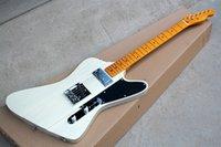 guitarra pescoços venda venda por atacado-Personalizada de fábrica Hot venda Guitarra elétrica com bordo amarelo Neck, Preto Pickguard, hardware Chrome, pode ser personalizado
