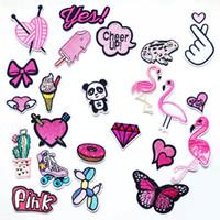 eisen mädchen appliques großhandel-Pink Girl Lady Eisen auf Patches Nähen gestickte Applikation für Jacke Kleidung Aufkleber Abzeichen DIY Bekleidung Zubehör