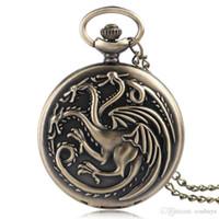 Wholesale house games for children resale online - Bronze Game of Thrones House Targaryen Quartz Pocket Watch Cool Dragion Men Women Pendant Necklace Retro Clcok Birthday Gift for Children