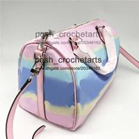 Wholesale phone zip resale online - Designer Pastel Bags Boston Bag in Tie Dye Fashion Handle Zip Closure Boston For Sale Designer s Pastel Fashion
