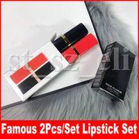 barras de labios de color al por mayor-Famoso juego de maquillaje de labios 2pcs Mate Lápiz de labios Colorete labial de colorete de labios de labios kit de maquillaje