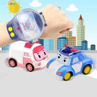 control remoto de coches recargables al por mayor-RC Mini Coche de Dibujos Animados Reloj de Juguete de Control Remoto de Gravedad Sensible con Recargable Reloj Niños Juguete para Niños Niñas niños juguetes