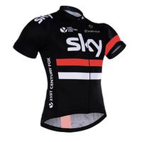 maillot ekibi gökyüzü pro bisiklet toptan satış-2018 gökyüzü ekibi bisiklet forması hızlı kuru 100% polyester şort kol pro bisiklet gömlek erkek yaz bisiklet Maillot 304517 giymek