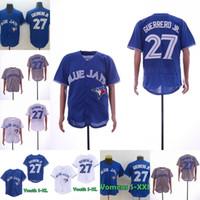 blaue baseballstiche großhandel-Vlad Guerrero Jr. Blue Jays 100% genähte Baseball-Trikots von Vladimir Guerrero Jr., Herren-Jugend von Toronto, Jersey-Bestseller
