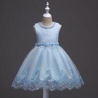ingrosso abiti da sposa bianchi blu per i bambini-Bei bambini Toddler Kids Neonate Summer Princess Girls Wedding Party Pink White Ice Blue Dresses