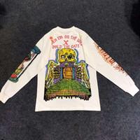 grafiti gömlek erkek toptan satış-Kanye West Sezon 6 Çocuklar Görmek Hayaletler Grafiti Erkekler Crewneck t gömlek Hip hop Moda Yeni Geldi Saksağan İskelet Streetwear Tee