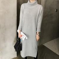 Donna Grosso Lavorato a Maglia Oversize Contrasto Manica da Donna Pullover Maglione Top Dress
