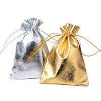 çorap torbaları gümüş toptan satış-1 adet 7x5 cm 9x7 cm 11x8 cm Ayarlanabilir Takı Ambalaj gümüş ve altın renkler İpli Kadife çanta Düğün Hediye Çanta Torbalar