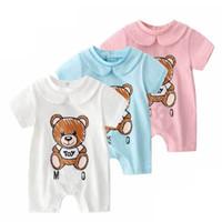 bebek ayı romper toptan satış-Yüksek Kaliteli bebek çocuk giysi tasarımcısı Romper Yaz Kısa Kollu Mektubu Ayı Baskı Romper Giysileri% 100% pamuk kız Erkek tulum 0-2 T