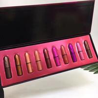 ingrosso allegro natale colorato-10pcs Rossetto Set Merry Christmas Matte Lipstick Set tubo colorato con confezione regalo J2217
