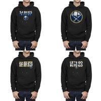 hokey kapüşonlu toptan satış-Buffalo Süvarileri birincil logosu 2018 Stanley Cup Playoff Buz hokeyi şerit LET'S GO Sıcak Atletik kapüşon İpli kapüşonlu tişörtü Mens