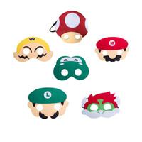 erkek parti elbiseleri toptan satış-Cadılar bayramı Oyuncaklar Süper Mario Bros Çocuklar Çocuklar için Maske Cosplay Parti Maskeleri Erkek Kız Doğum Günü Partisi Dekorasyon Cadılar Bayramı Giydir Favor Hediyeler