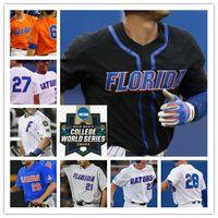 enviar auténticos jerseys de béisbol al por mayor-NCAA Florida Gators Béisbol CWS cosido Jerseys Personalizado Cualquier número Nombre 6 Jonathan India 22 JJ Schwarz 8 Deacon Liput 9 Brady Smith