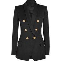 hohe modeoberbekleidung großhandel-HOHE QUALITÄT Neue Mode 2018 Designer Blazer Jacke Frauen Gold Knöpfe Zweireiher Blazer Oberbekleidung Größe S-XXXL S18101305