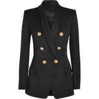 yüksek moda dış giyim toptan satış-YÜKSEK KALITE Yeni Moda 2018 Tasarımcı Blazer Ceket kadın Altın Düğmeleri Kruvaze Blazer Giyim boyutu S-XXXL S18101305
