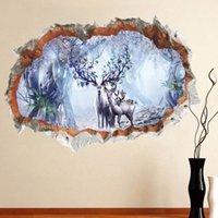 orman hayvanları duvar resimleri toptan satış-3D Tuğla Duvar Geyik Orman Duvar Sticker Noel Dekorasyon Yatak Odası Duvar Çıkartmaları Hayvan Elk Ağacı Posteri PVC Sanat Mural Duvar Kağıdı