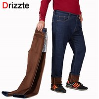 13f8f926dc2 Wholesale big tall jeans resale online - wholesale Winter Brown Flannel  Warm Men Jeans for Big